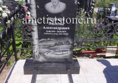 Памятник береза с крестом, благоустройство плиткой